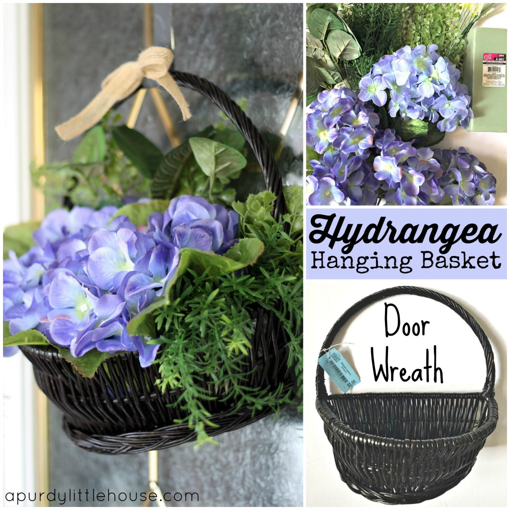 Hydrangea hanging basket door wreath made from a thrift store basket and dollar store flowers at apurdylittlehouse.com