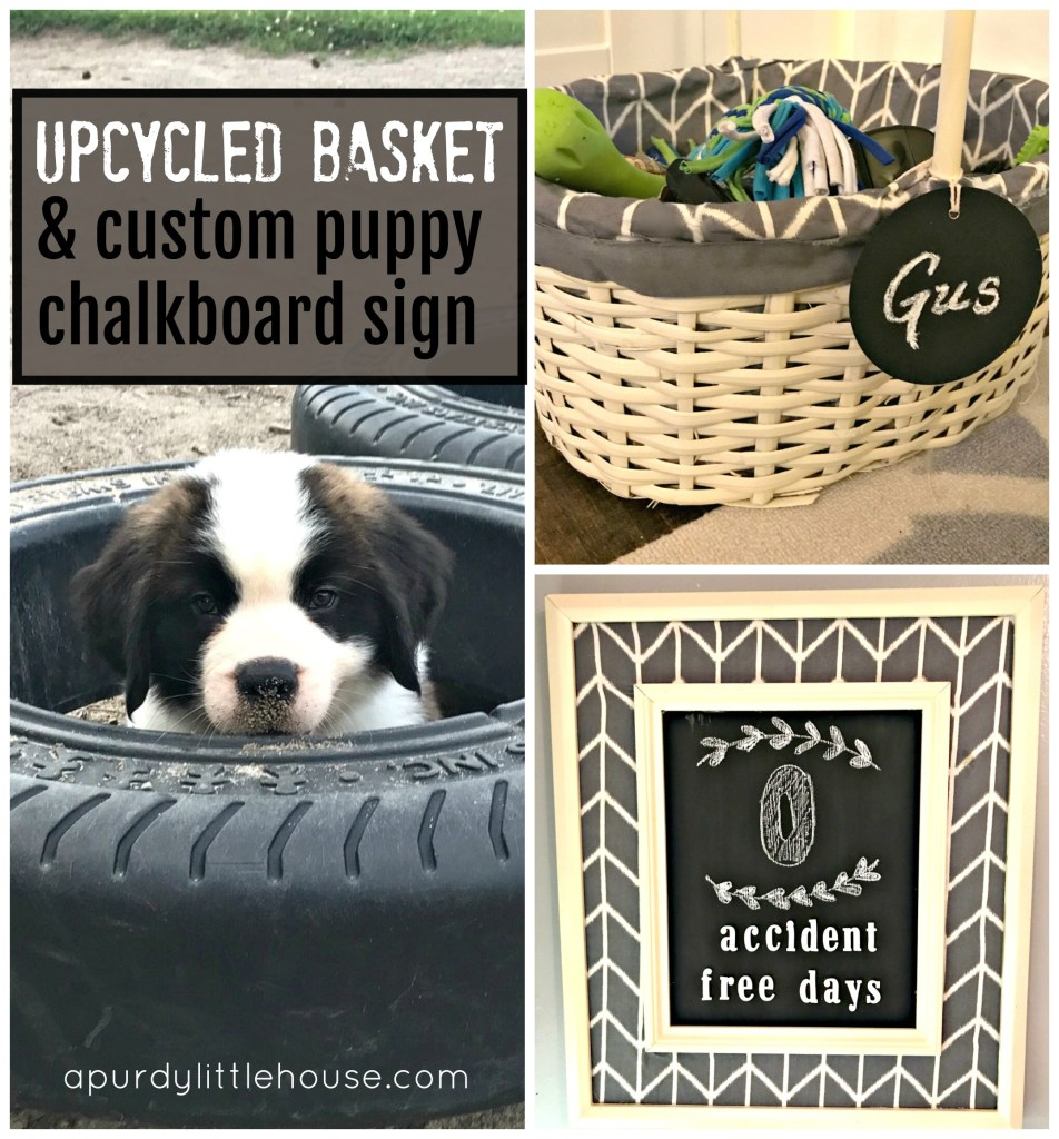 Upcycled Basket and custom puppy chalkboard sign. See all the details and how you can get this doggy style at apurdylittlehouse.com