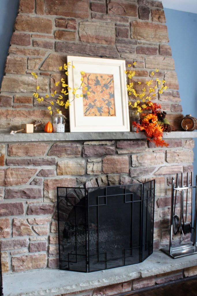 Fall Home Tour Fireplace Mantel in traditional fall colours