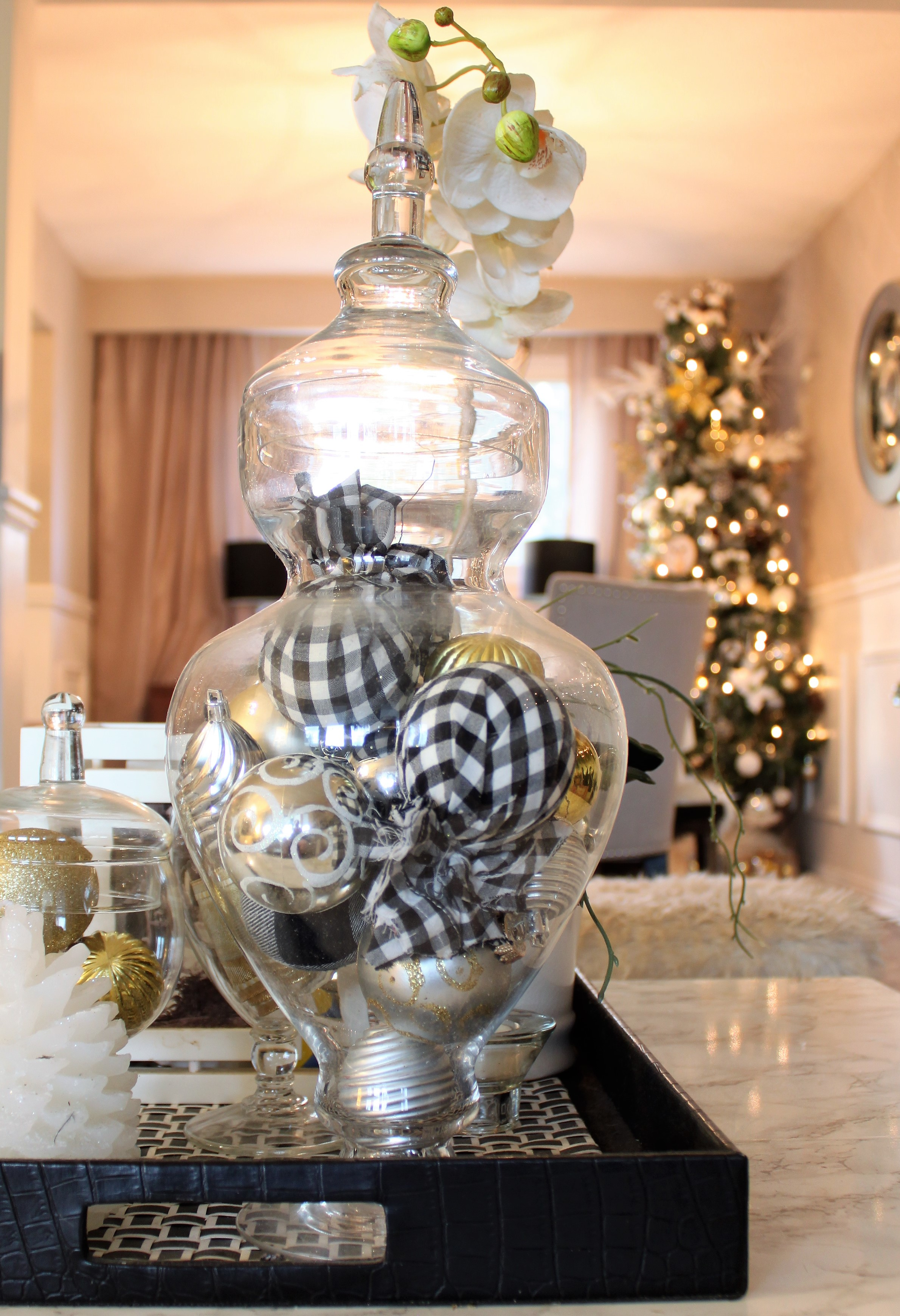 Neutral Christmas Home Tour Decor ornaments in glass jar