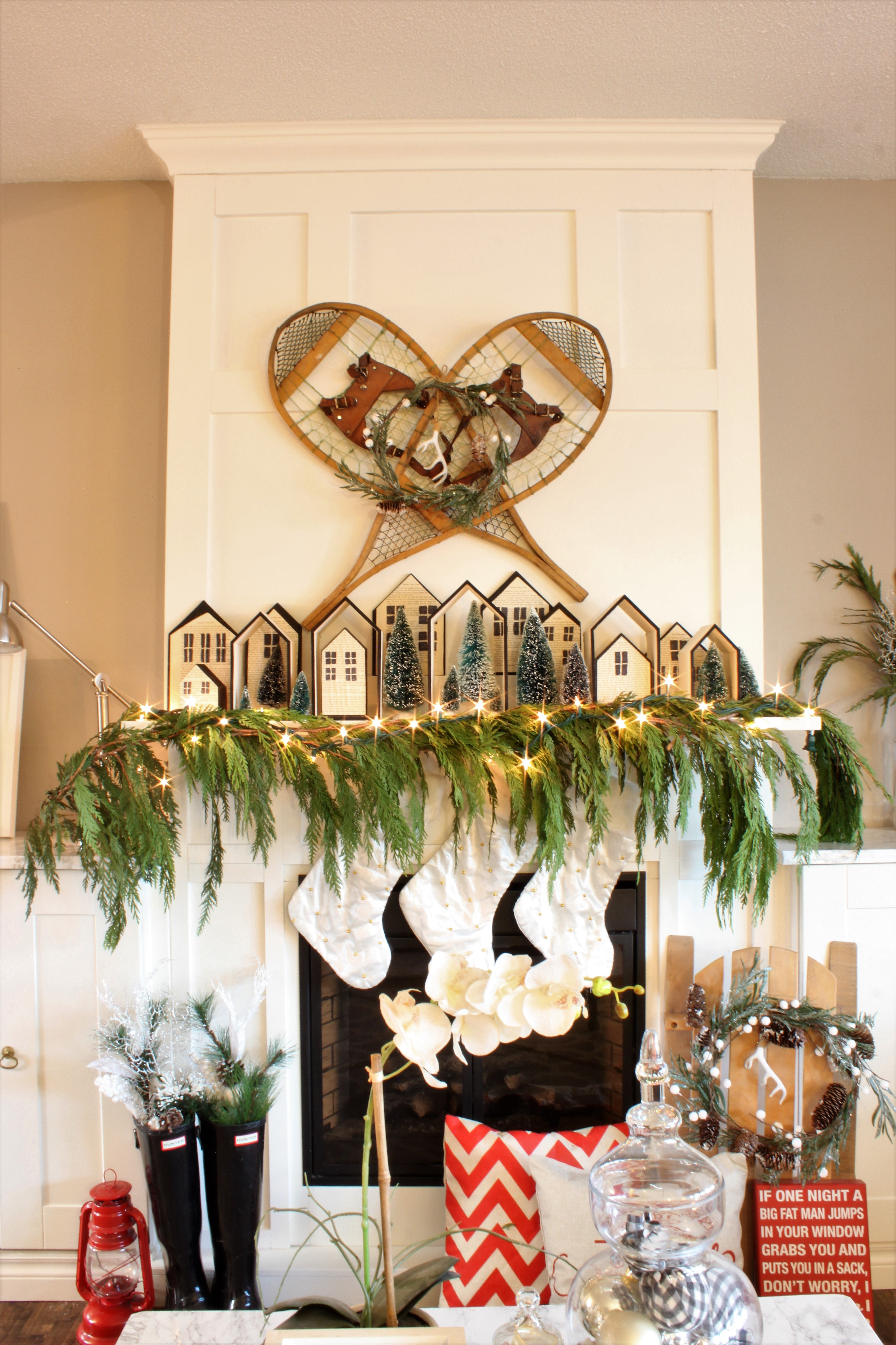 Neutral Christmas Home Tour Decor with real garland made of cedar clippings