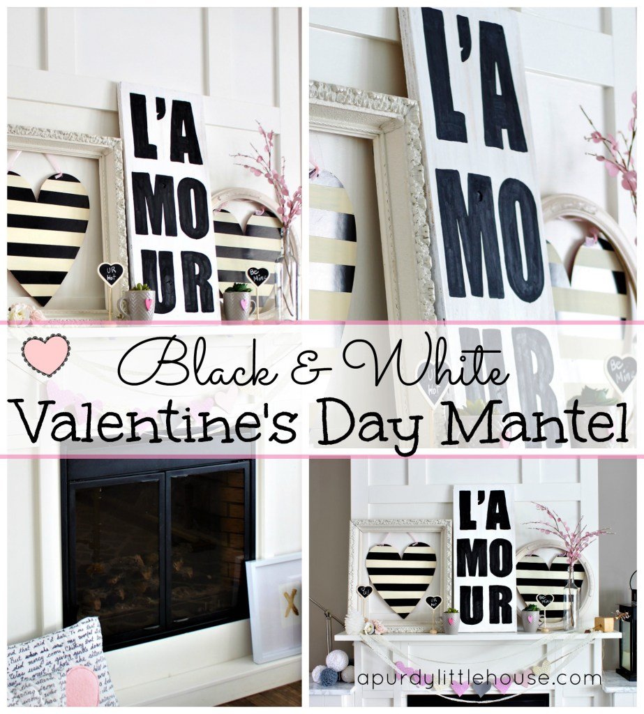 Neutral Black and White Valentine's Day Mantel with L'Amour sign made from scrap wood