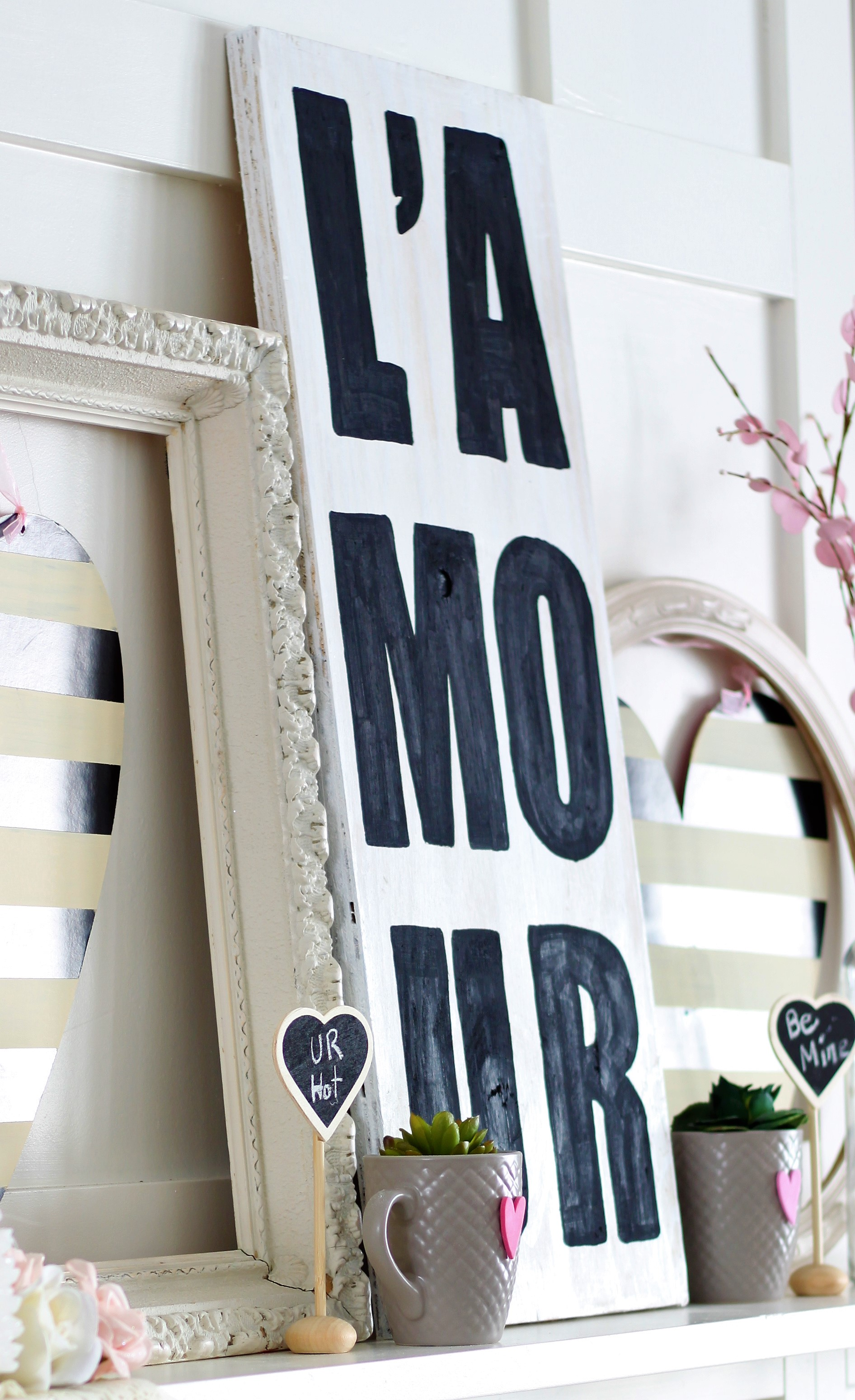 Valentine's Day L'Amour sign made from scrap wood