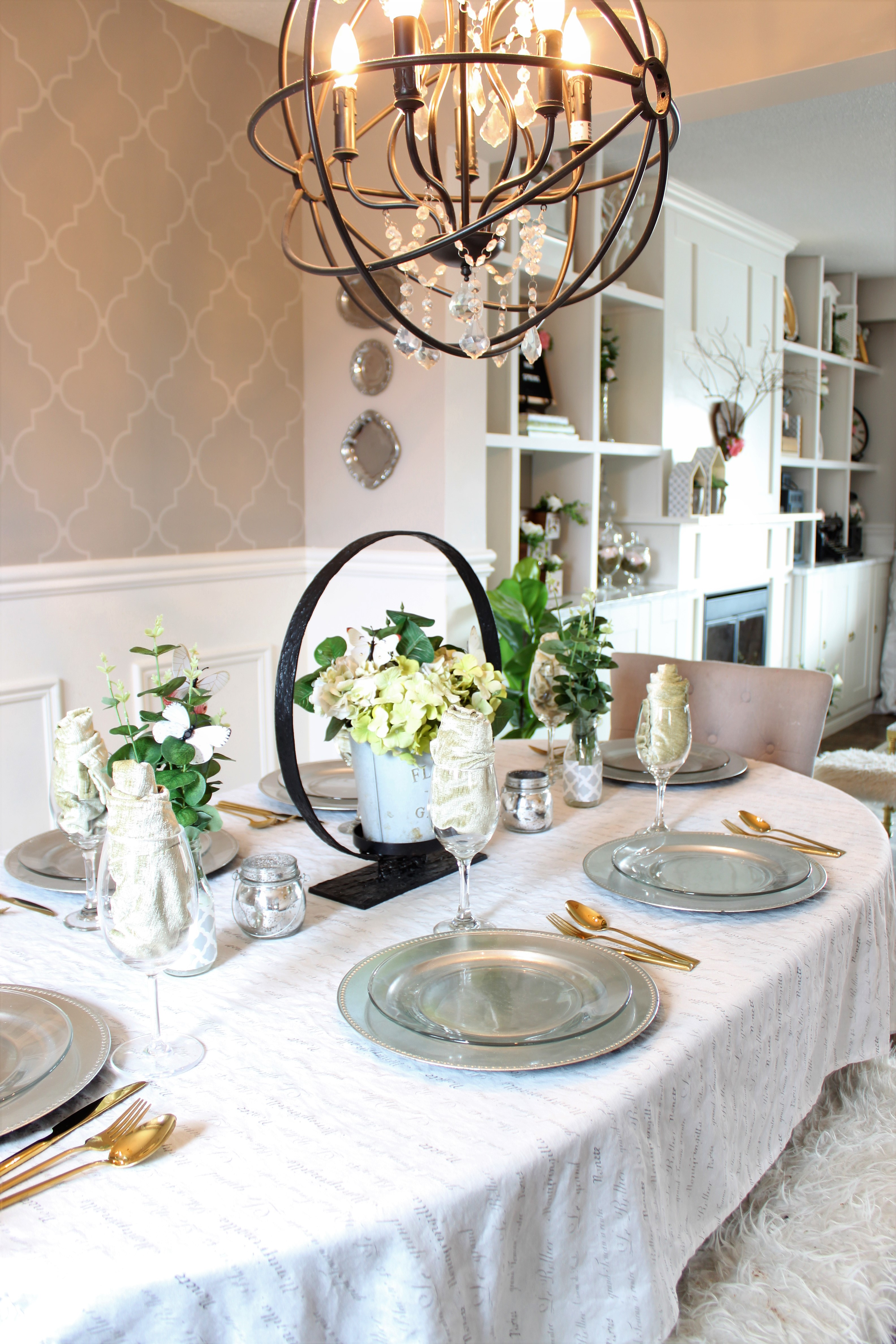 pring Has Sprung Home Tour using neutrals and faux flowers and greenery Dining Room