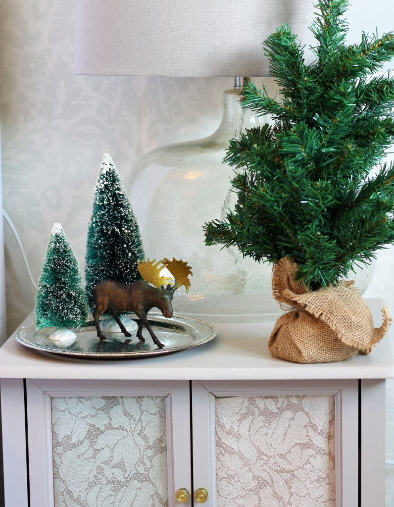 Copper and Velvet christmas home tour with green velvet accents in the the Bedroom