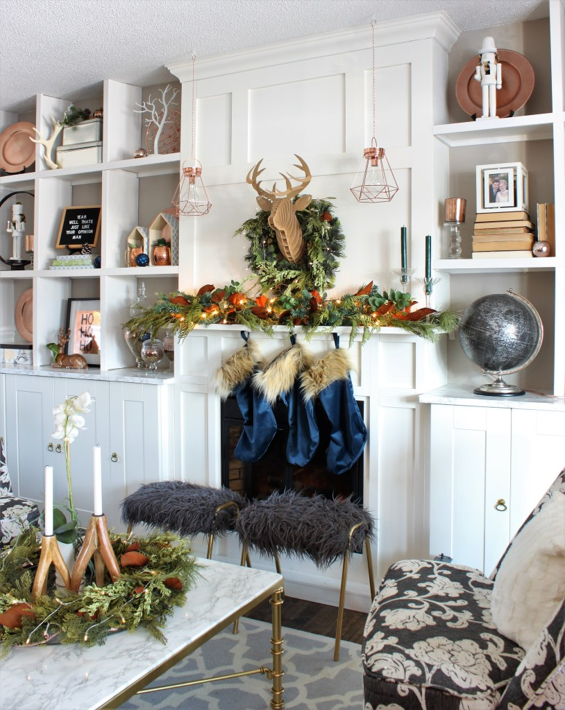 Copper and velvet Christmas Home Tour Living Room Fireplace Mantel