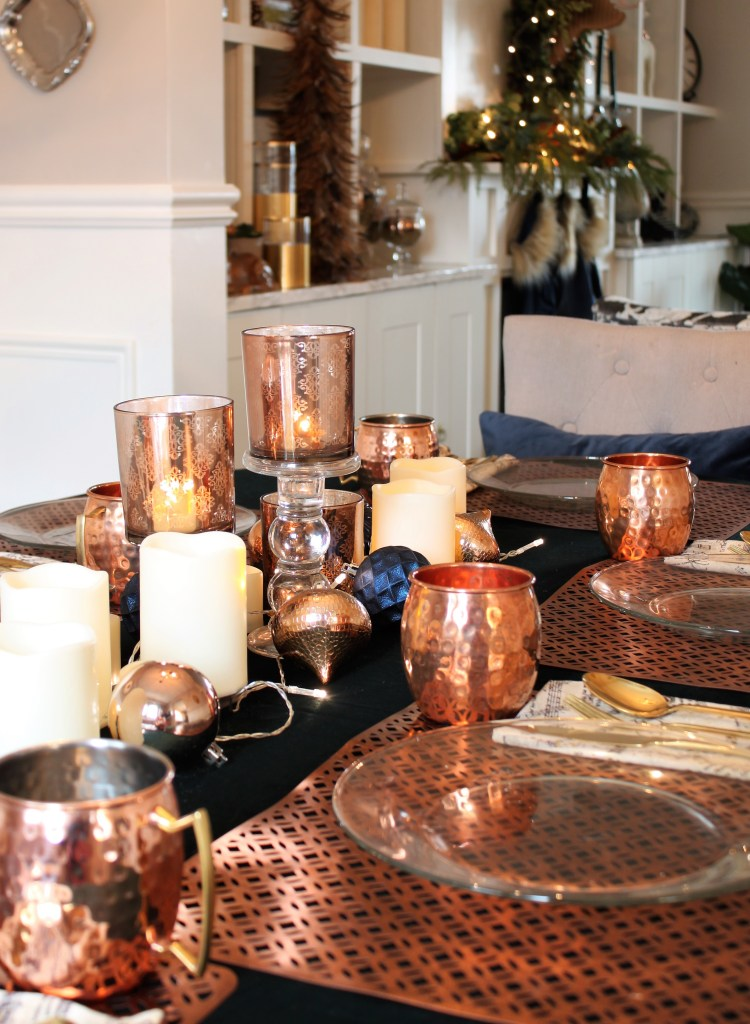 Green and Copper Christmas tablescape