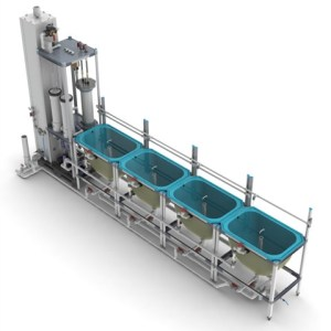 Four 150-L rearing tanks connected to a REBF system