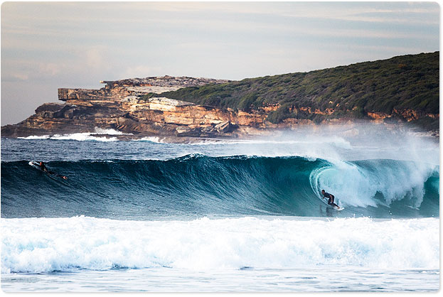 """A surfer at Maroubra Beach - """"Rip peak in the middle putting on a solid wall"""" apparently"""