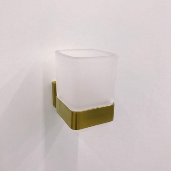 Elements Striking TVA15201900076 Стакан для зубных щёток стеклянный настенный, золотой сатинированный