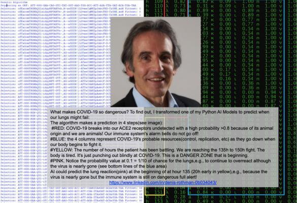 Denis Rothman, ami et IA (réseaux neuronaux et Prolog) avec lui dès 1992 pour le VIH et 3 herpès, explore les portes d'entrée et d'action sur le virus.