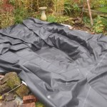 Pond re-line Bristol: Liner is moulded to the pond shape using folds