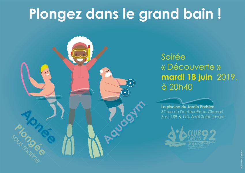 Soirée «Découverte des activités aquatiques» 18 juin 2019 à la piscine de Clamart – Invitez vos amis ?