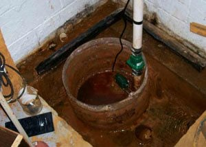 Standing water in discolored area where the sump pump has been flooded and damaged
