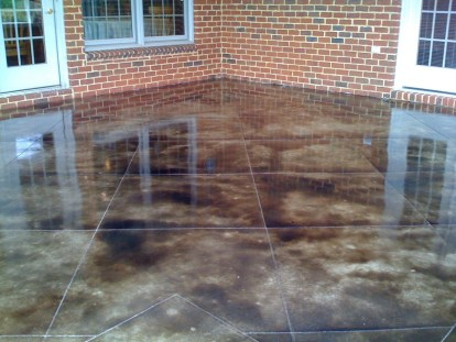 pooled water on patio