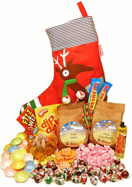 A REINDEER STOCKING PACKED WITH NOSTALGIA,christmas stocking decorations present xmas secret santa chrimbo gift gifts pressie stocking filler,retro sweets,retro sweetshops,liquorice sweets,toffees,toffee sweets,boiled sweets