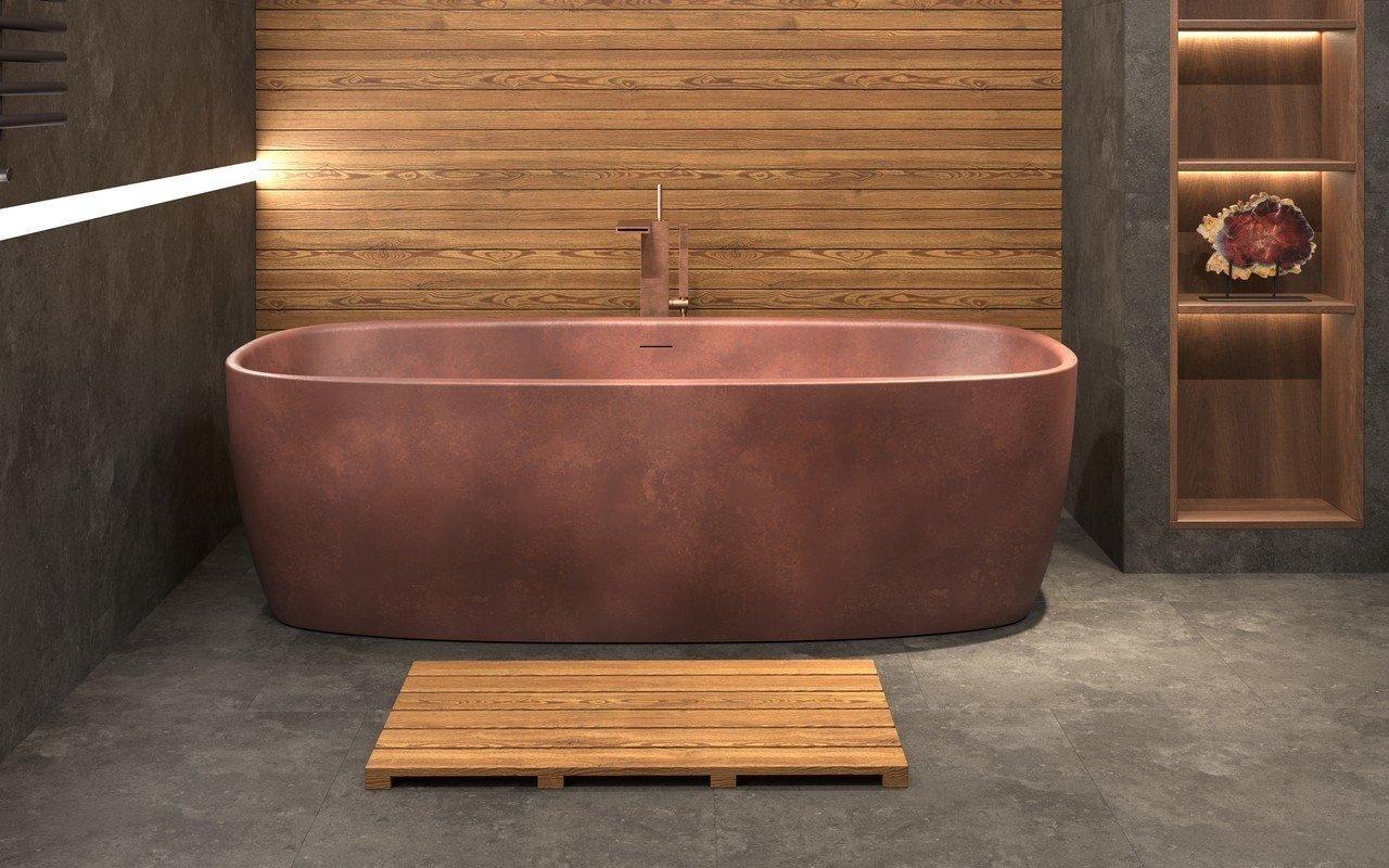 aquatica coletta baignoire ilot surface solide en bronze