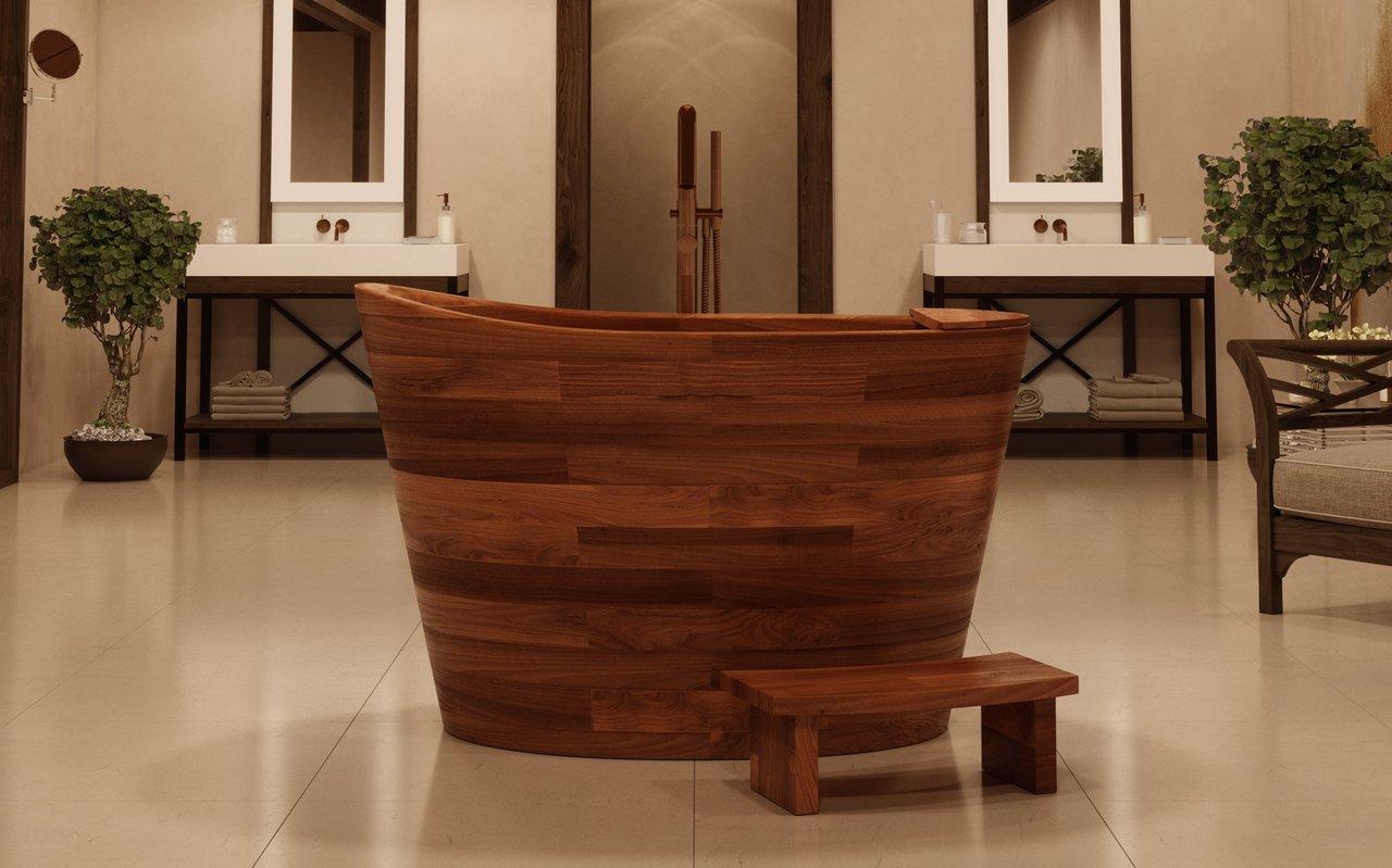 Aquatica True Ofuro Wooden Freestanding Japanese Soaking Bathtub