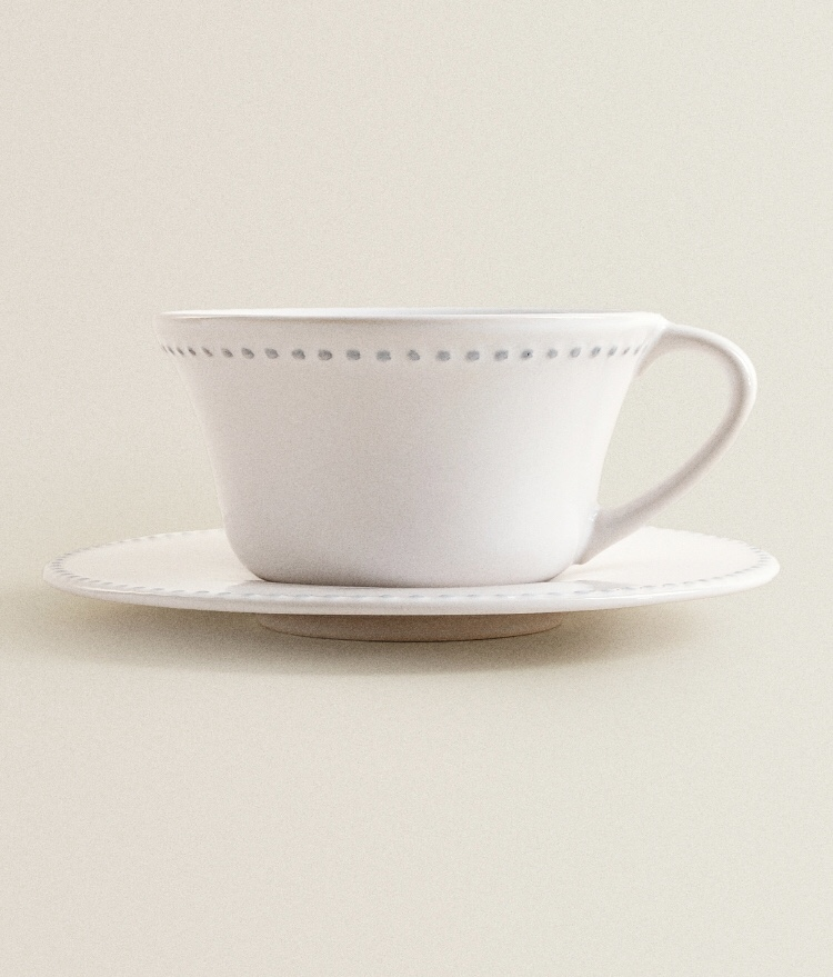 Taza y Plato Borde Relieve de Zara Home