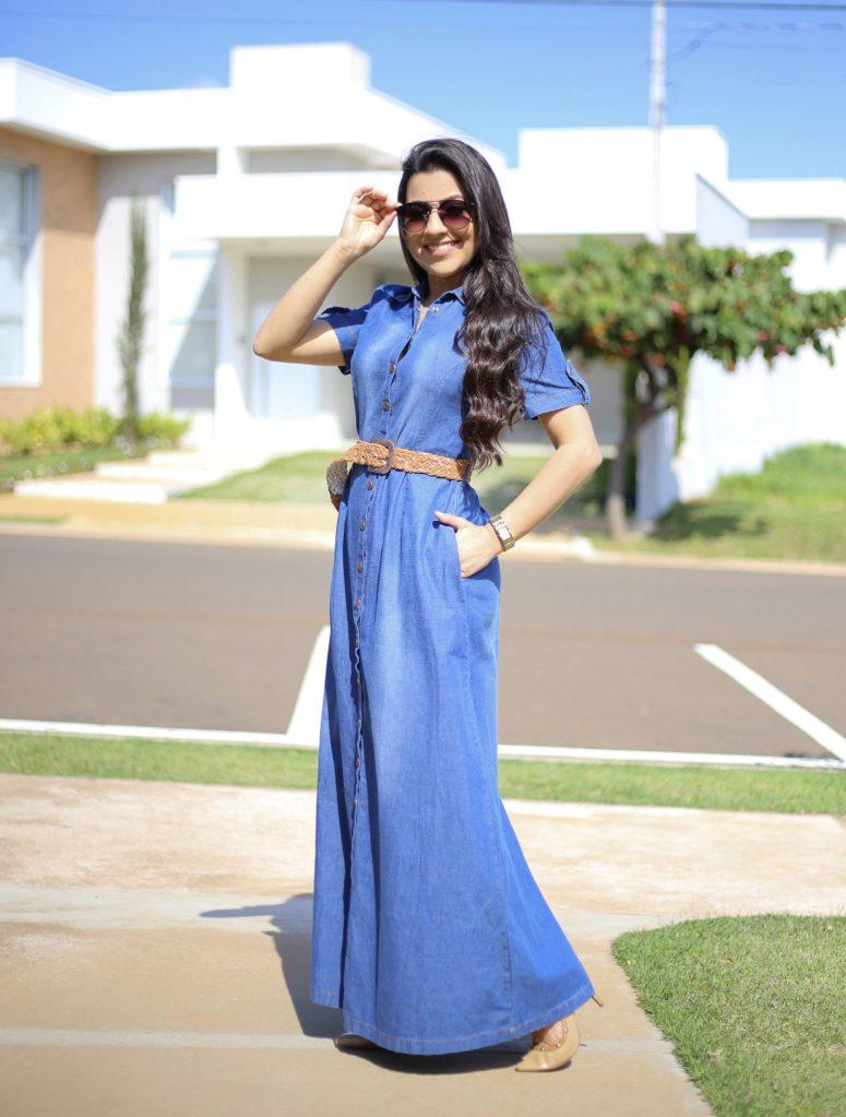 Vestido Jeans Longo Adriana em Áquila Tauheny Store   Moda Evangélica