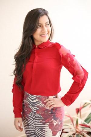 Camisa Vermelha Babado