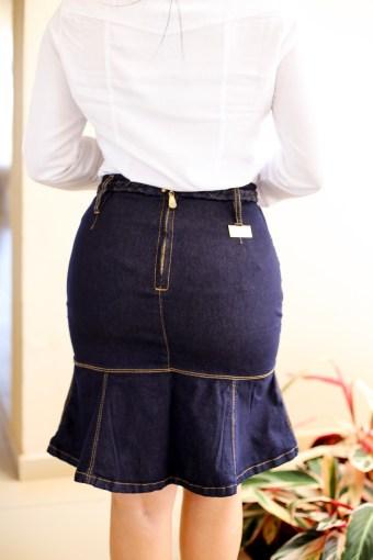 Saia Jeans Peplum em Áquila Tauheny Store   Moda Evangélica