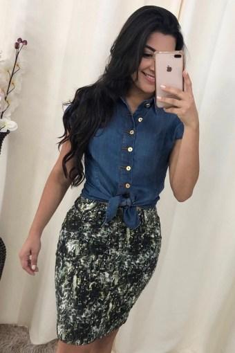 Saia Estampada em Áquila Tauheny Store | Moda Evangélica