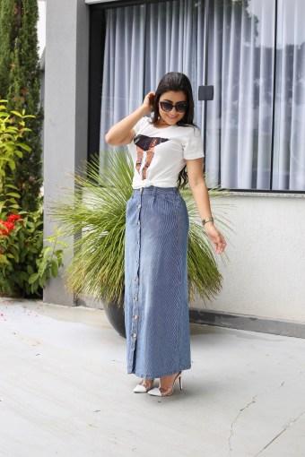 Saia Jeans Longa Listrada em Áquila Tauheny Store | Moda Evangélica