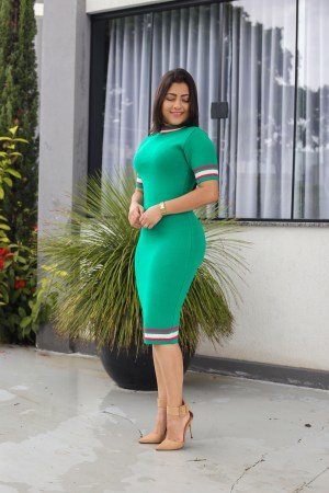 Vestido Tricot Verde Tubinho