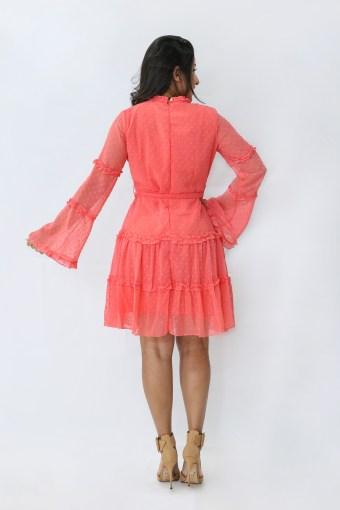 Vestido Tule Coral em Áquila Tauheny Store | Moda Evangélica