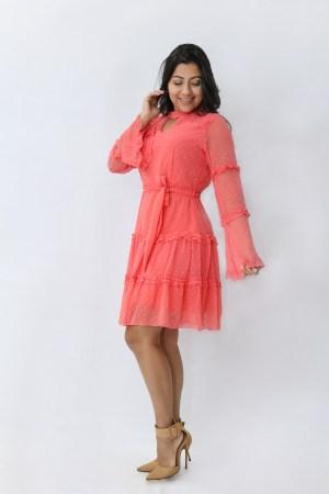 Vestido de Tule Coral
