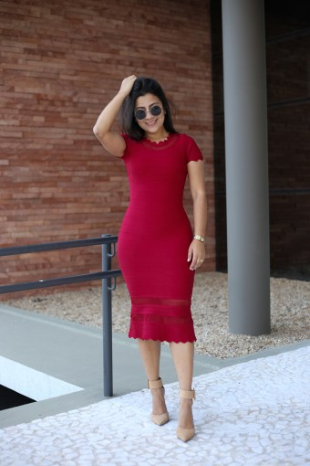 Vestido Bandagem Bordô/Vermelho em Áquila Tauheny Store   Moda Evangélica