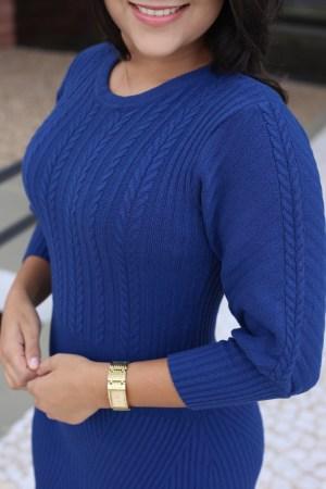 Vestido Tricot Peplum Azul