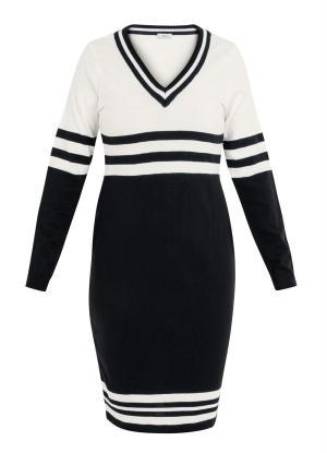 Vestido de Tricot Decote V Listrado Preto