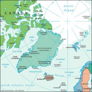 Map of Greenland in northern circumpolar