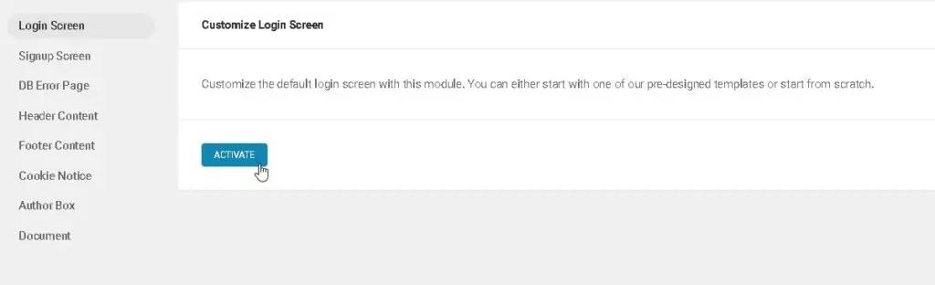 7 اختر الخيار Login Screen ثم انقر على زر التفعيل Activate.