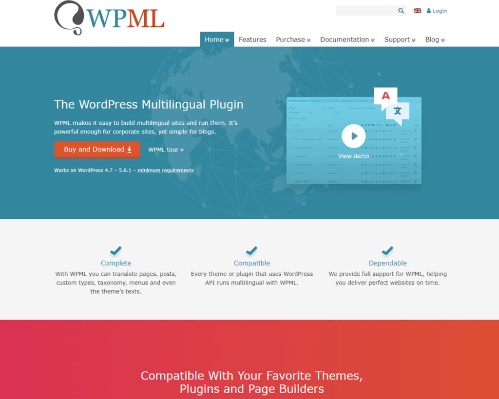 واجهة إضافة WPML