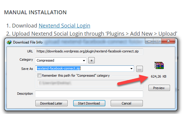 حجم إضافة Nextend social login