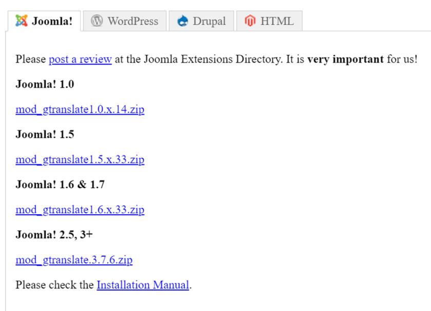 ما تدعمه إضافة Gtranslate من أنظمة لإدارة المحتوى