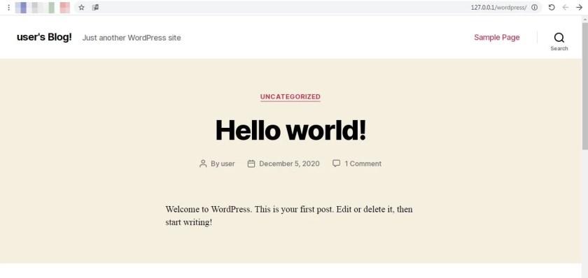 18 صفحة جديد وهي الموقع المحلي الخاص بنا برنامج BITNAMI WORDPRESS STACK