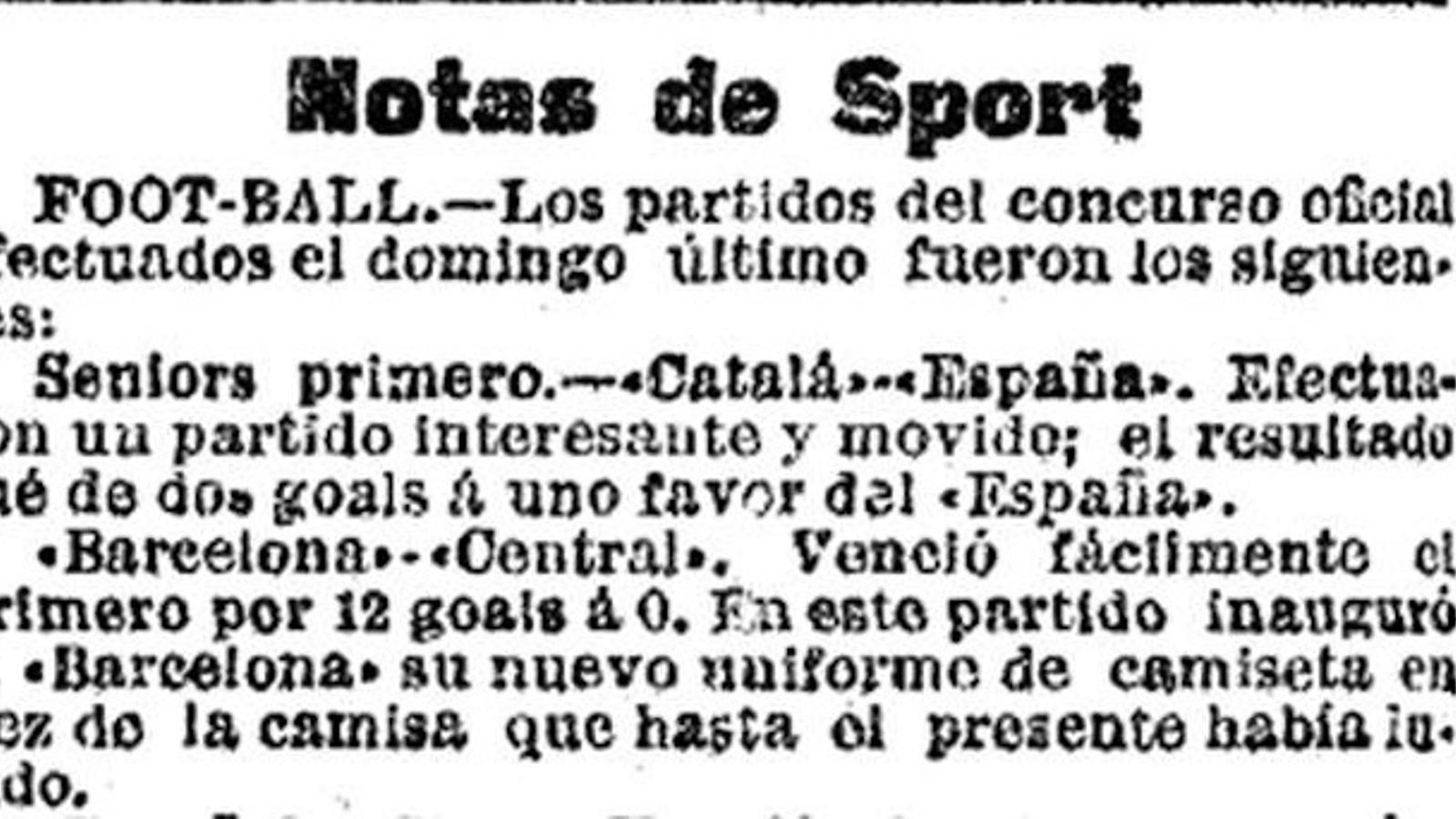 Informació esportiva a un diari de l'època / ARXIU PERIS DE VARGAS