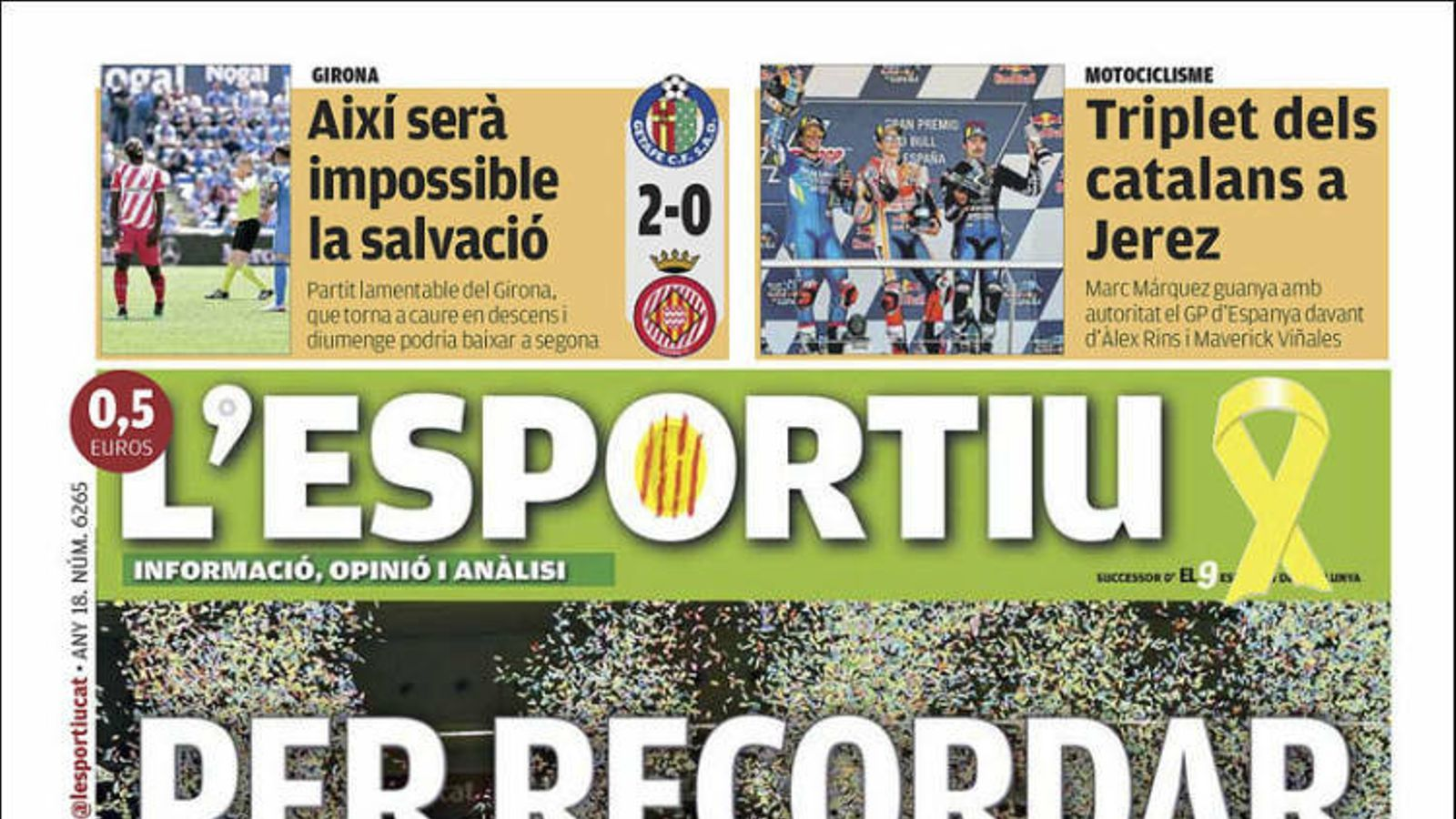 """""""Per recordar"""": el títol de lliga de l'Spar Citylift Girona, a la portada de 'L'Esportiu'"""