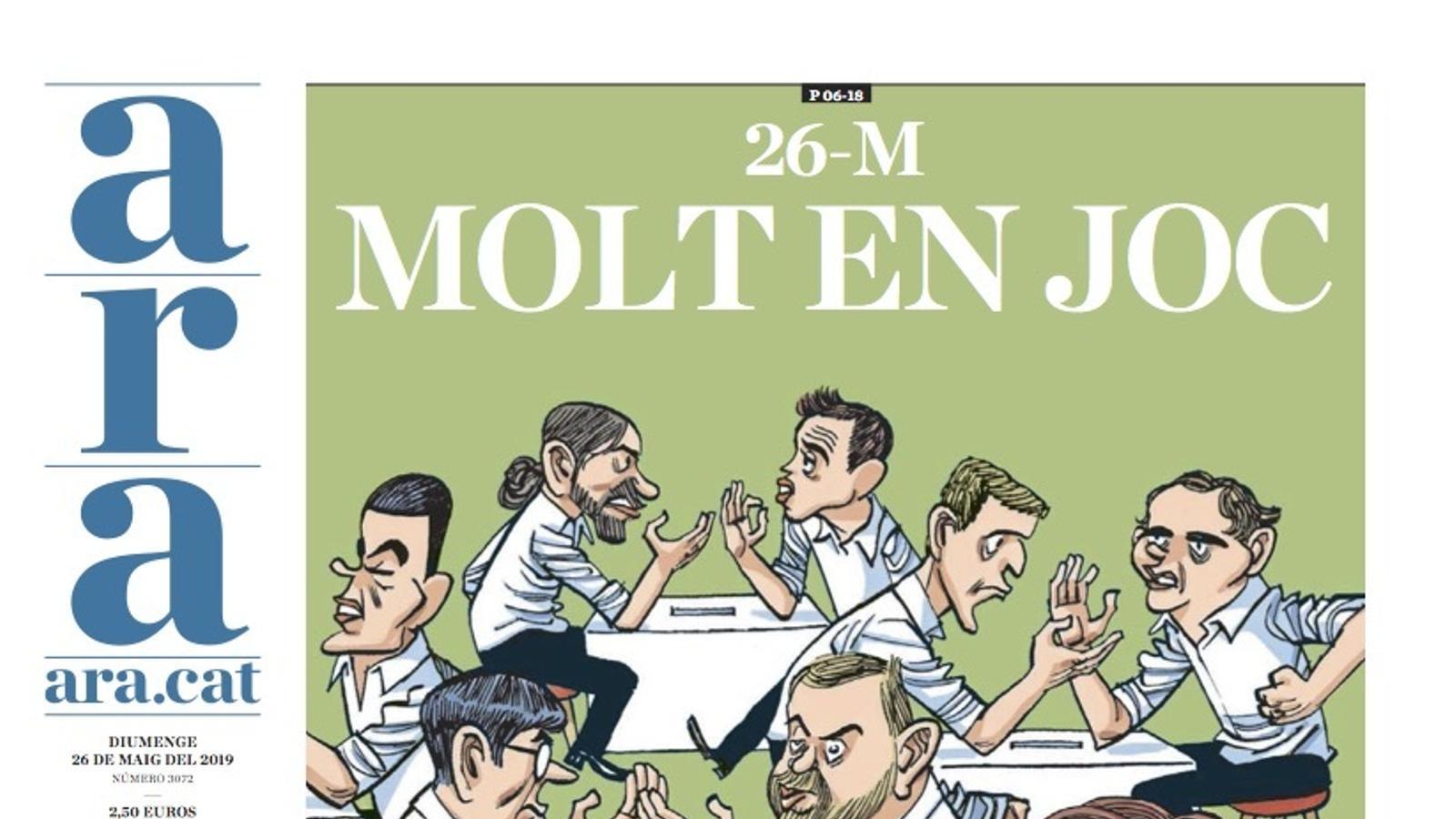 """""""26-M: Molt en joc"""", portada de l'ARA"""