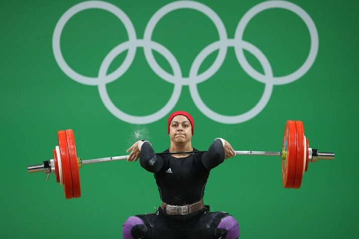during the Women's 69kg Group A weightlifting contest on Day 5 of the Rio 2016 Olympic Games at Riocentro - Pavilion 2 on August 10, 2016 in Rio de Janeiro, Brazil.