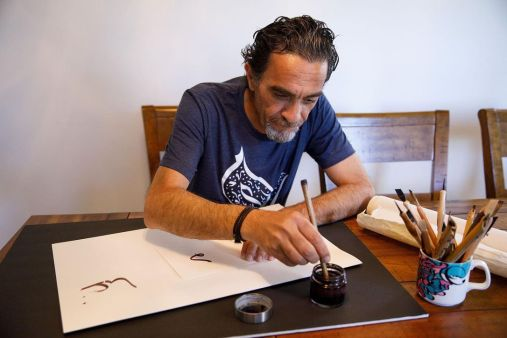 Syrian Artist Mixes Messages of Hope with Arabic Calligraphy for Edmonton's Art Walk