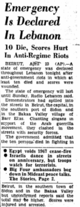 1969: Lebanon Declares State of Emergency After Riots
