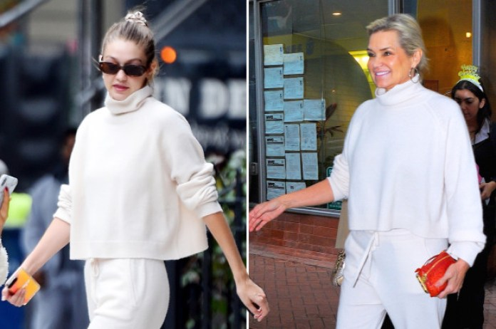 Yolanda Hadid Borrows Daughter Gigi's Cashmere Sweats for Bella's Birthday