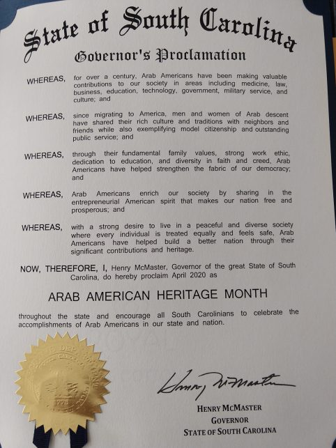 Proclamations from State Governors Issued in Commemoration of National Arab American Heritage Month-April 2020