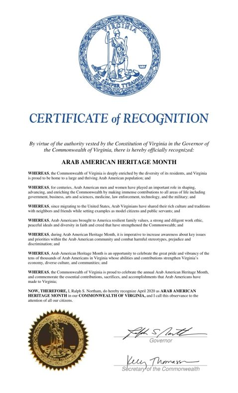 State Governors Issue Proclamations in Commemoration of National Arab American Heritage Month-April 2020