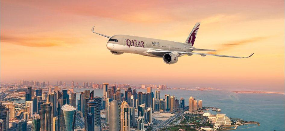 Qatar Airways Fly Over Doha
